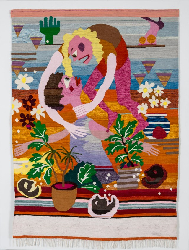 Christina Forrer, Two People Fighting, 2014. Wool, cotton, and linen. Private Collection, Los Angeles.
