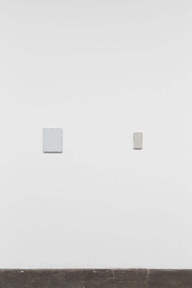 TTo and from home, installation view. Works left to right: untitled, 2015. Oil on canvas. 27.7 x 22 x 2cm; 10 ¾ x 8 ⅝ x ¾ inches; and untitled, 2015. Oil on canvas. 18.5 x 10 x 2.3 cm; 7 ⅛ x 3 ⅞ x ⅞ inches.
