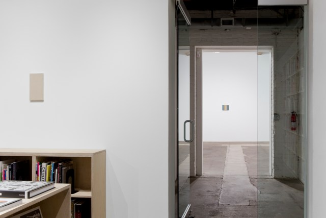 To and from home, installation view.Works left to right: crustM3, 2015. Oil on canvas. 27.3 x 16.2 x 2 cm; 10 ¾ x 6 ⅜ x ¾ inches; and Brush No. 15 of Sekaido, 2015. Oil on canvas. 22 x 27.2 x 2 cm; 8 ⅝ x 10 ¾ x ¾ inches.