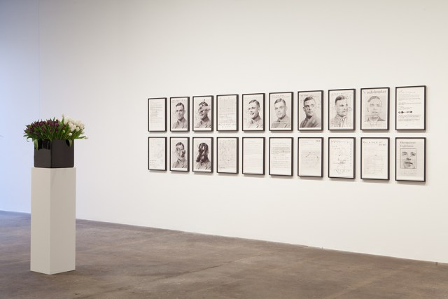 Plaisance, installation view. Left: Willem de Rooij, Bouquet VI, 2010. Right: Henrik Olesen, A.T., 2012.