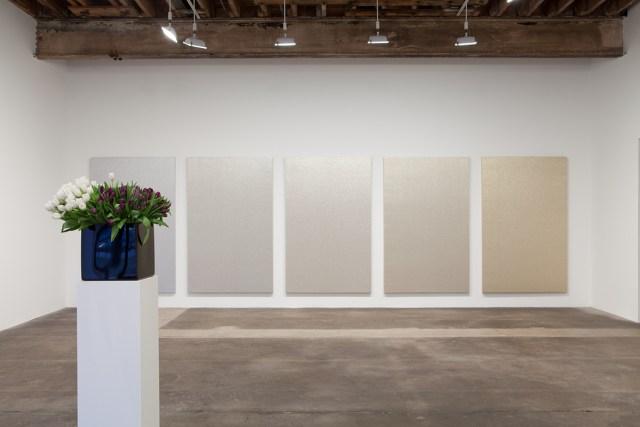 Plaisance, installation view. Foreground: Willem de Rooij, Bouquet VI, 2010. Background: Willem de Rooij, Silver to Gold, 2009.