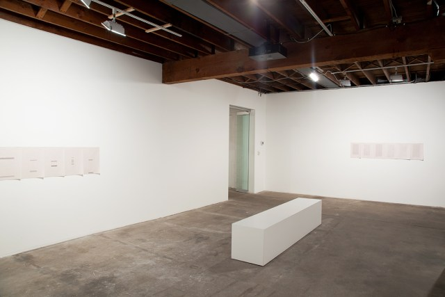 Its chiming in Normaltown, installation view. Gallery 2: L**E like Readymix paint. Left: past of run, 2012. Right: ran, 2012.