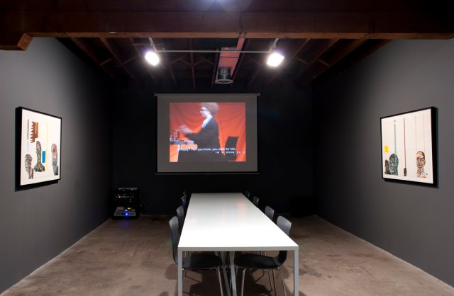 The Way It Wasn't (Celebrating ten years of castillo/corrales, Paris), installation view. Left and Right: Leon Golub; Center: Heimo Zobering.