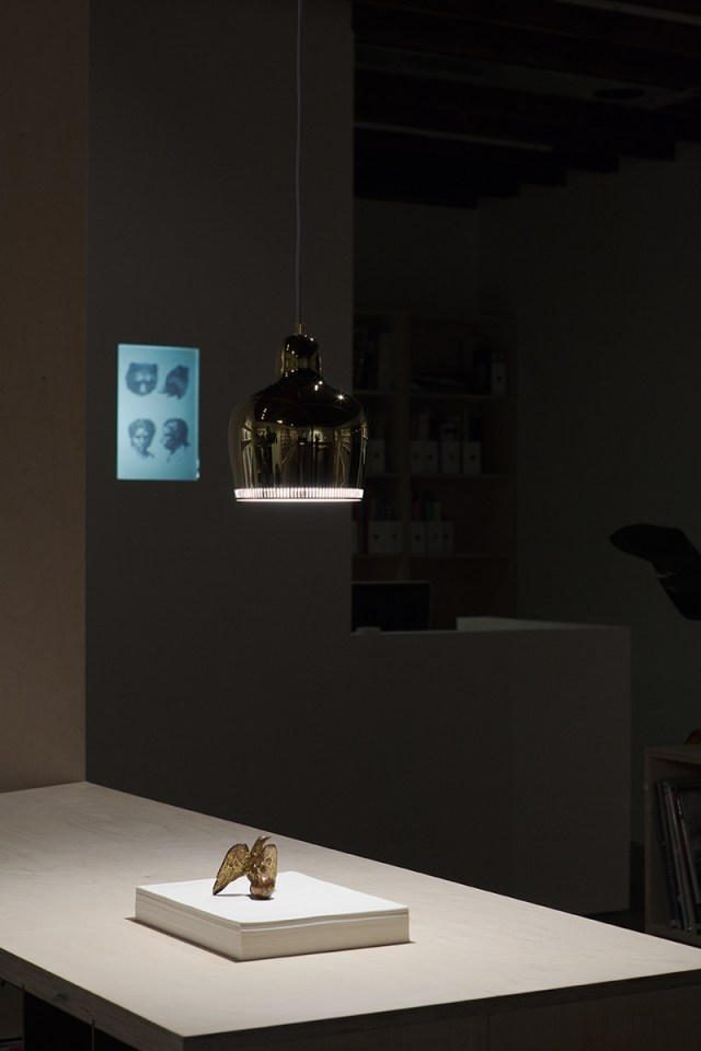 """Plaisance, installation view. Foreground: Alejandro Cesarco, Broodthaers, 2008. Background: 35mm slides of drawings from a series """"De La Physionomie Humaine et Animale"""" by Charles Le Brun, ca. 1670, Selected by Willem de Rooij."""