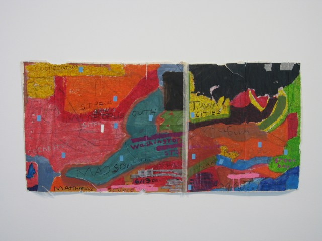 Matthew Zimdars, left: Severe, 2006. Mixed media on found map. Right: Severe Weather Minnesota and Wisconsin, 2006. Mixed media on paper.