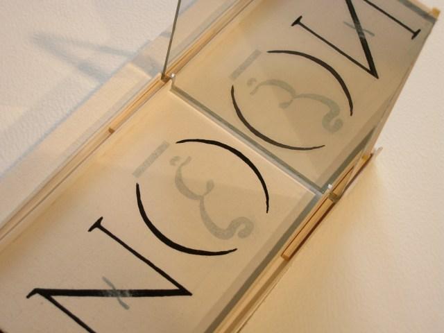 Untitled, detail, 2007. Balsa wood, ink, mirror.