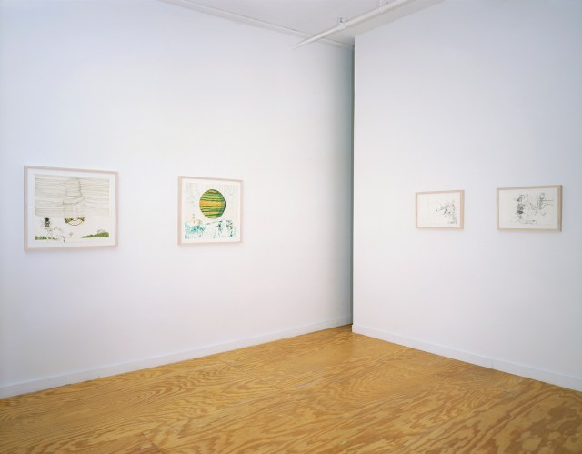 Jorge Queiroz, 4 works, all Untitled, 2001. Mixed media on paper.