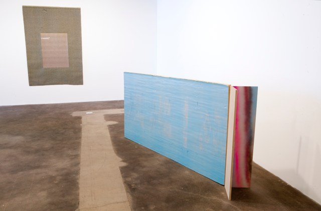 Left: For Us, 2004/2007. Carpet, tape. Right: Begin, 2006-2007. Insulation board, MDF, enamel spray paint, latex paint.