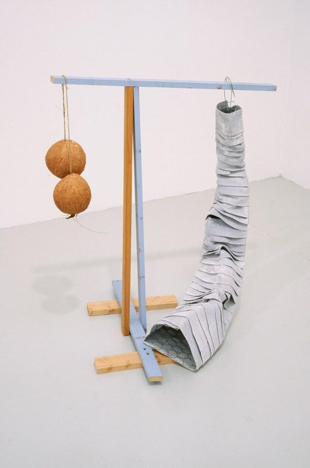 Samara Caughey, A Little Blue, 2003. Wood, string, paint, coconut shells.