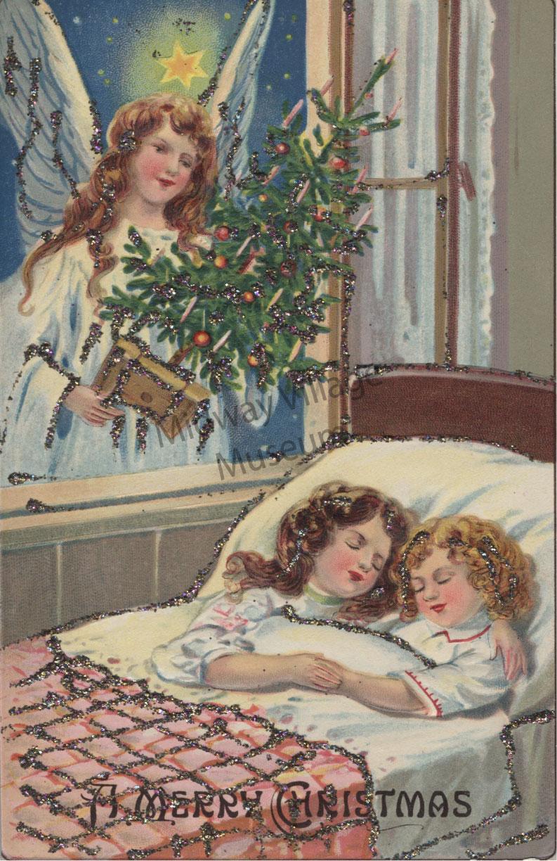 Vintage Christmas Postcard Angel Midway Village Museum
