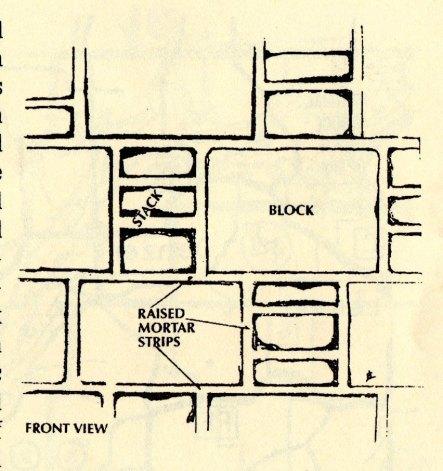 Rendering of 'block and stack' masonry.