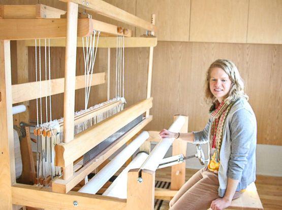 Brittany Wells at the fiber arts school.
