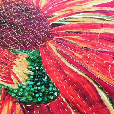 Embellished quilt flowers, Maday Delgado, Baraboo, WI