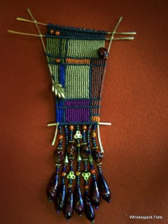 Untitled - 4 X 6 inches (Cavandol Knotting - C-lon nylon cord on brass armature with glass beads)