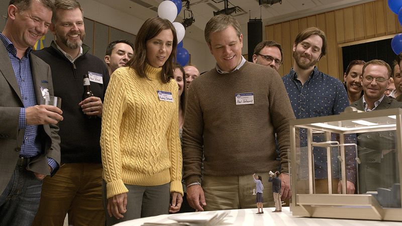"Matt Damon and Kristen Wiig are an Omaha couple contemplating a life in the land of the small in ""Downsizing,"" a Paramount Pictures release."
