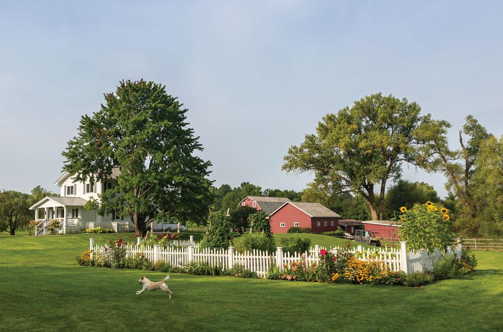 Mod Farmhouse Exterior, Featuring a Fenced-In Garden