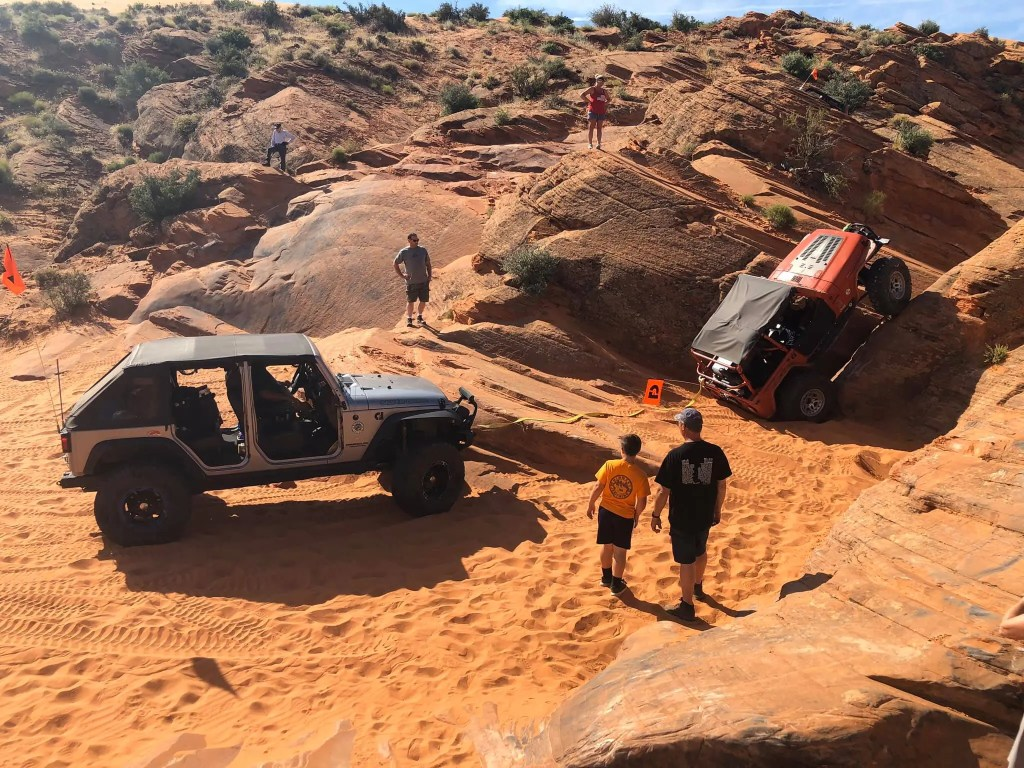 Group of Midwest Jeepthing Club Members enjoying their Jeeps off-road at Sand Hollow, Utah