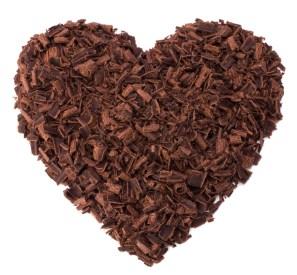 Grated dark chocolate heart