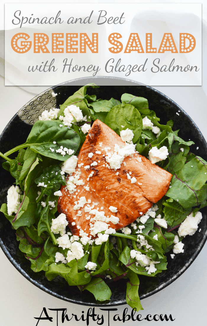 Spinach and Beet green salad with honey glazed salmon