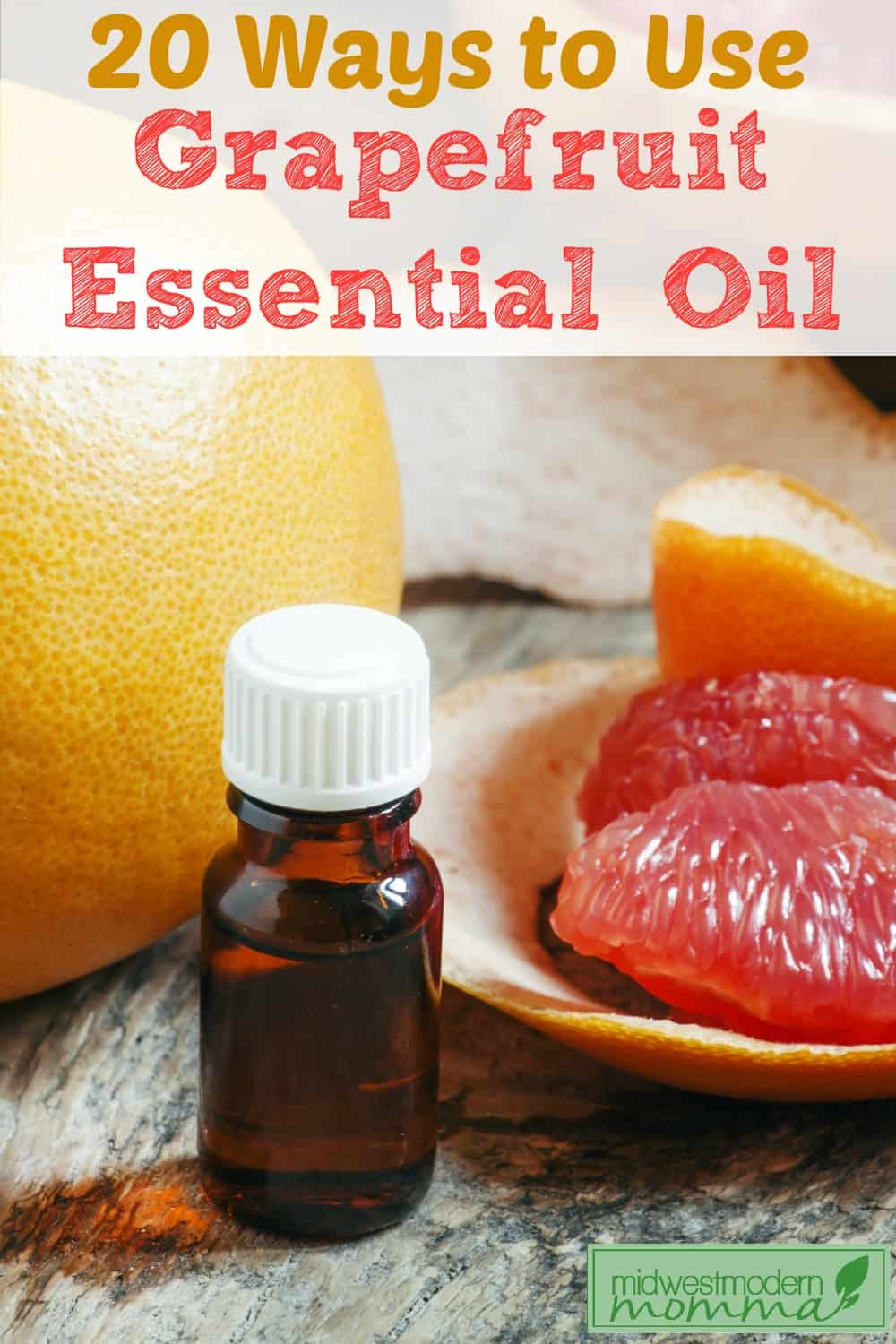 Grapefruit Essential Oil is used for everything from cellulite to anxiety from body scrubs to furniture polish! Here are my favorite 20 Grapefruit Essential Oil Uses!