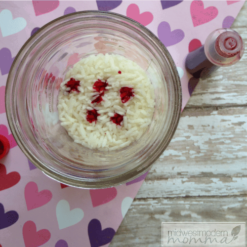Dyed Rice for Valentine's Day Sensory Activities