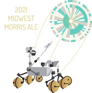 2021 Midwest Morris Ale t-shirt design with Mars rover and parachute