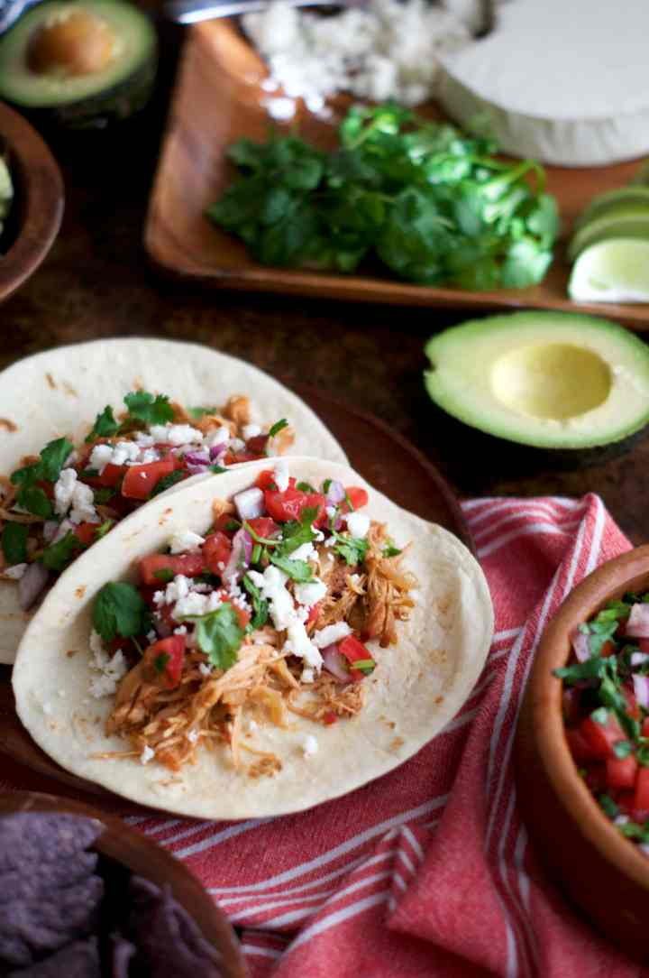 Slow Cooker Salsa Chicken Tacos | via Midwest Nice Blog