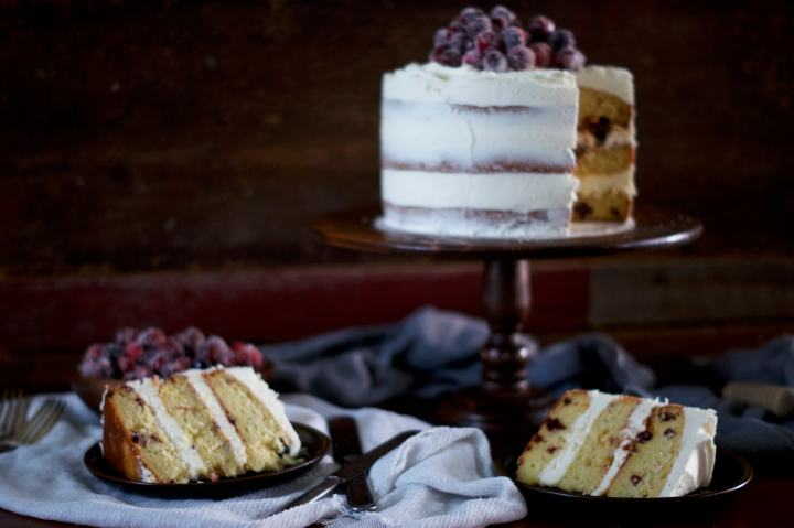 Cranberry Orange Layer Cake with White Chocolate Frosting