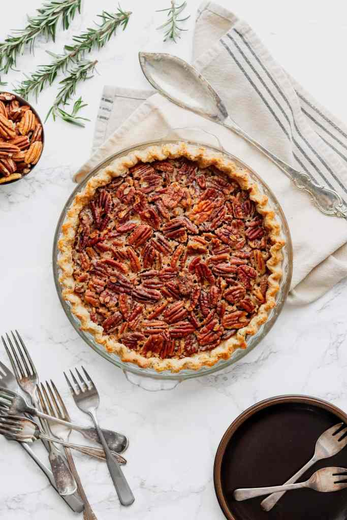 Maple Bourbon Pecan Pie in a Rosemary Crust