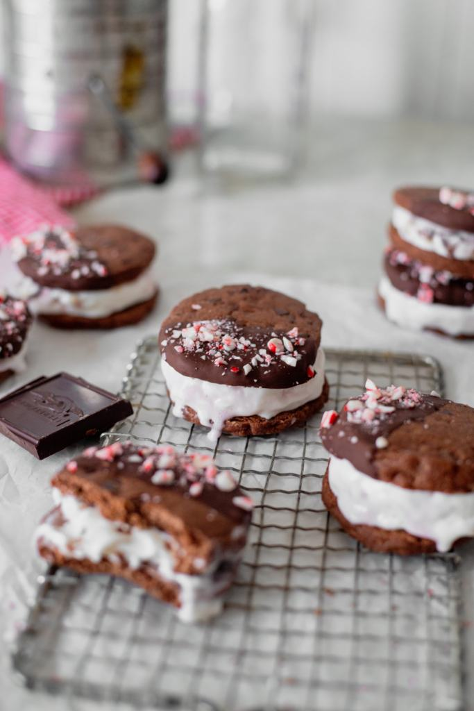 Peppermint Mocha Ice Cream Cookie Sandwiches