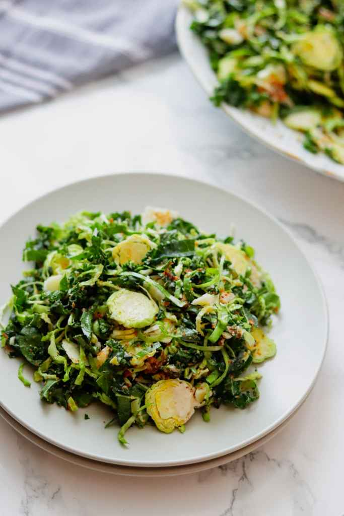 Shaved Brussels Sprouts Caesar Salad recipe with homemade Caesar Dressing
