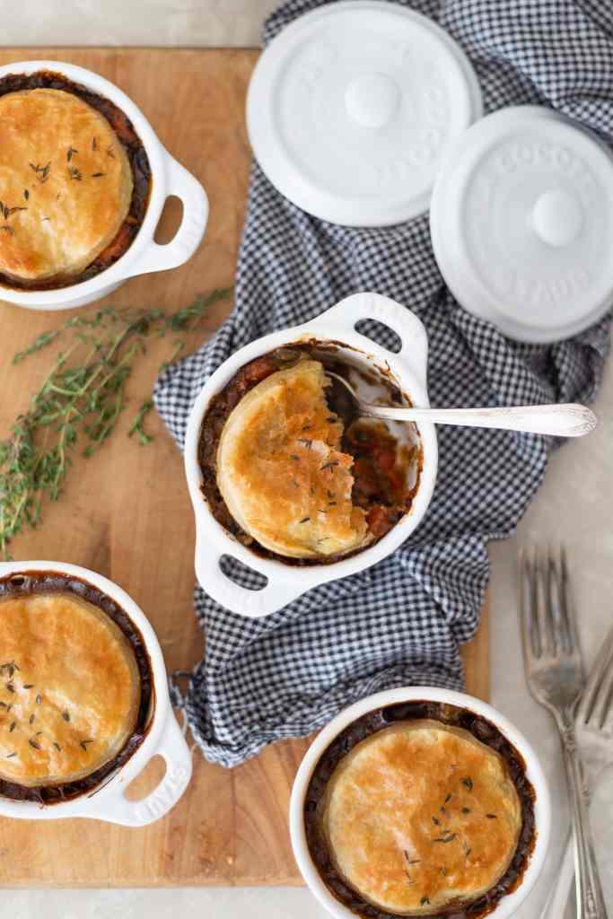 Deer & Beer Pot Pie with Puff Pastry Crust