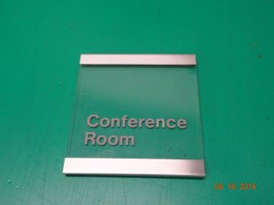 Clear acrylic with brushed aluminium trim sign Image