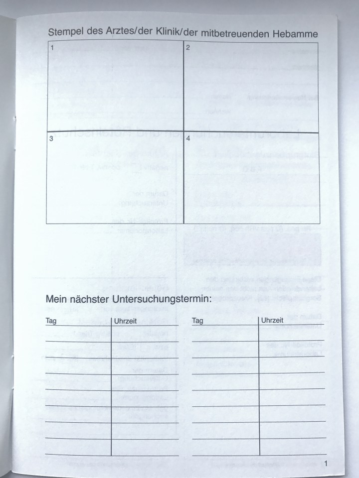 The first page of a german Mutterpass