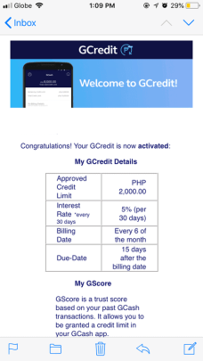 GCredit activation notice on email