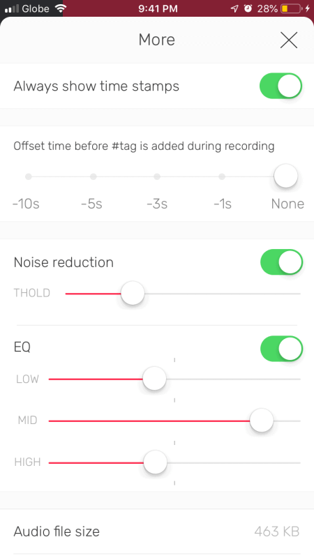 Noise Reduction feature of the noted app