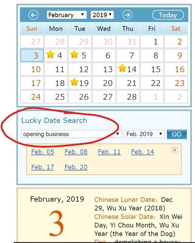 Chinese Calendar with Lucky Date Search