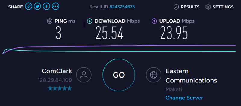LAN connection Speedtest for Converge