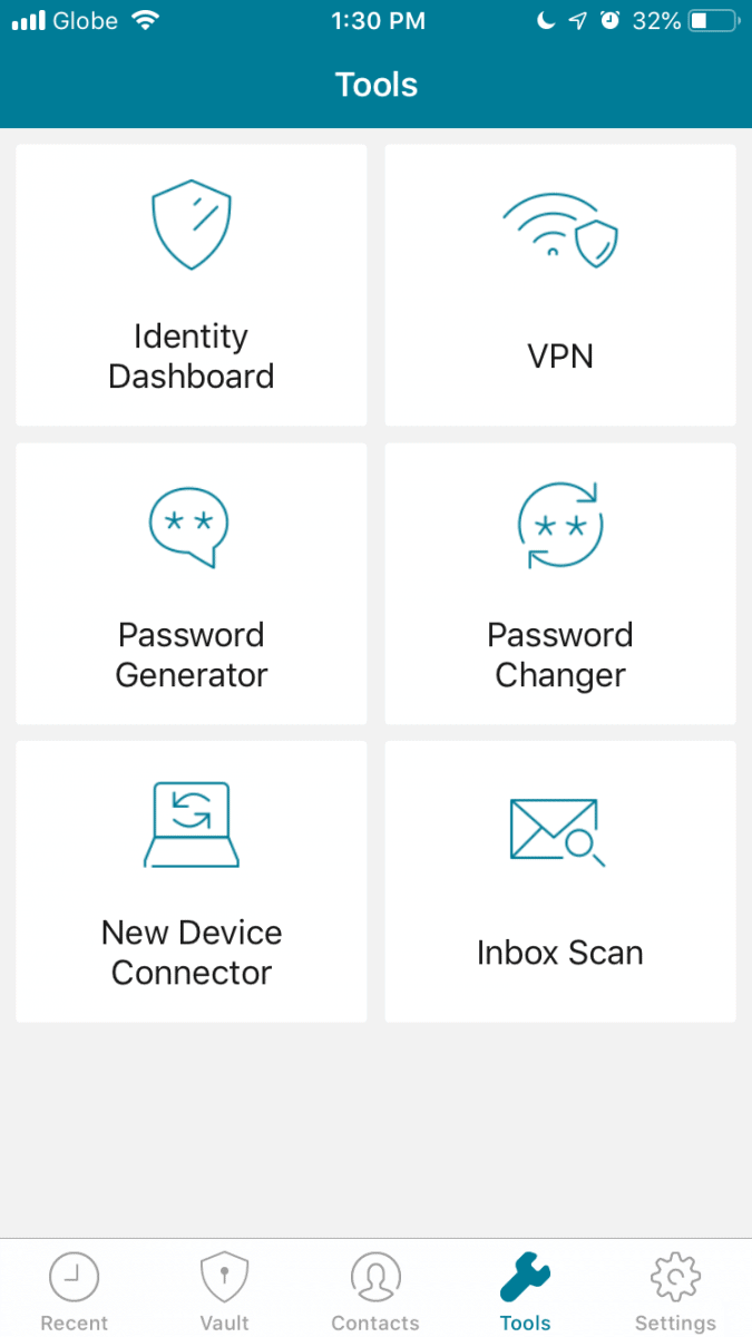 Tools on dashlane app