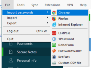 import passwords from your browser