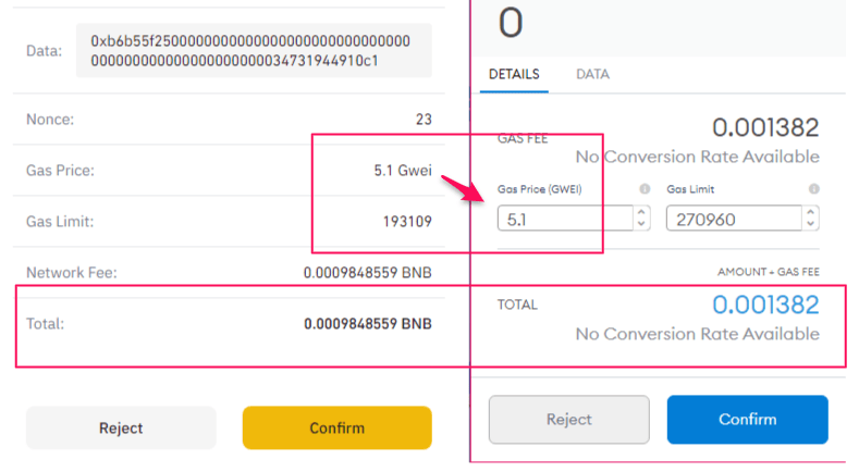 gas fee settings comparison with Binance Chain Wallet and MetaMask
