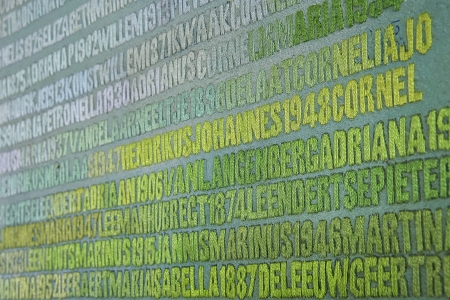 De Verdronkenen (2003-2008). Detail van het werk in wording. met een lederen vingerhoeje, de DMC-garens en aantekeningen van de kunstenares op de rand van het doek.Vijf panelen met de namen van alle 1836 slachtoffers van de Watersnoodramp van 1 februari 1953. Monumentaal werk van Miep van Riessen in acryl en garens op doek - 134 x 236,8 cm. StichtingMiepvanRiessen foto © Jan van de Ven  4092x2718 pixels