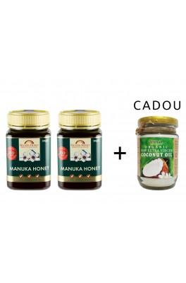 Pachet 2X Miere Manuka RAW MGO 200+, 500g + 1 buc Ulei de Cocos Cadou