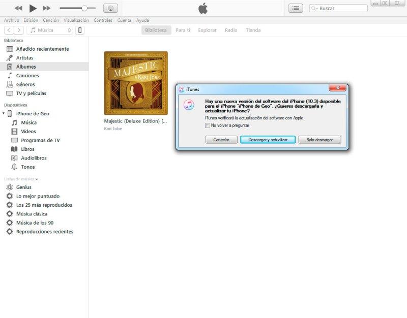 restuarar iphone con iTunes