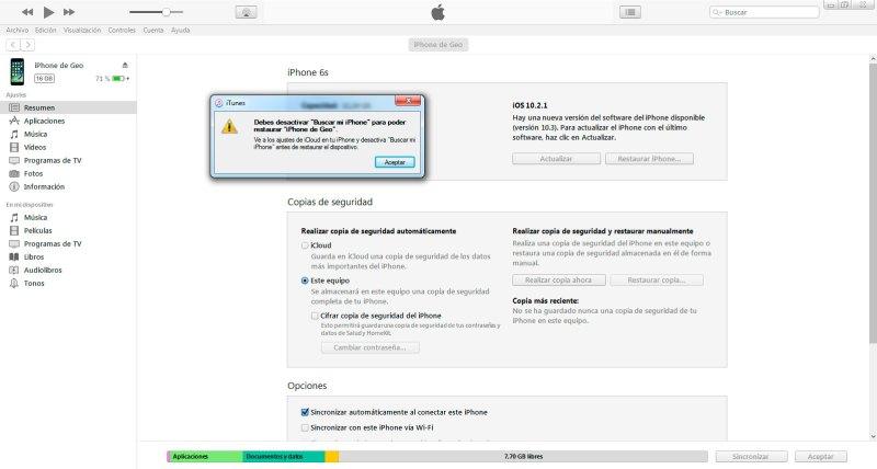 resturar iPhone con iTunes