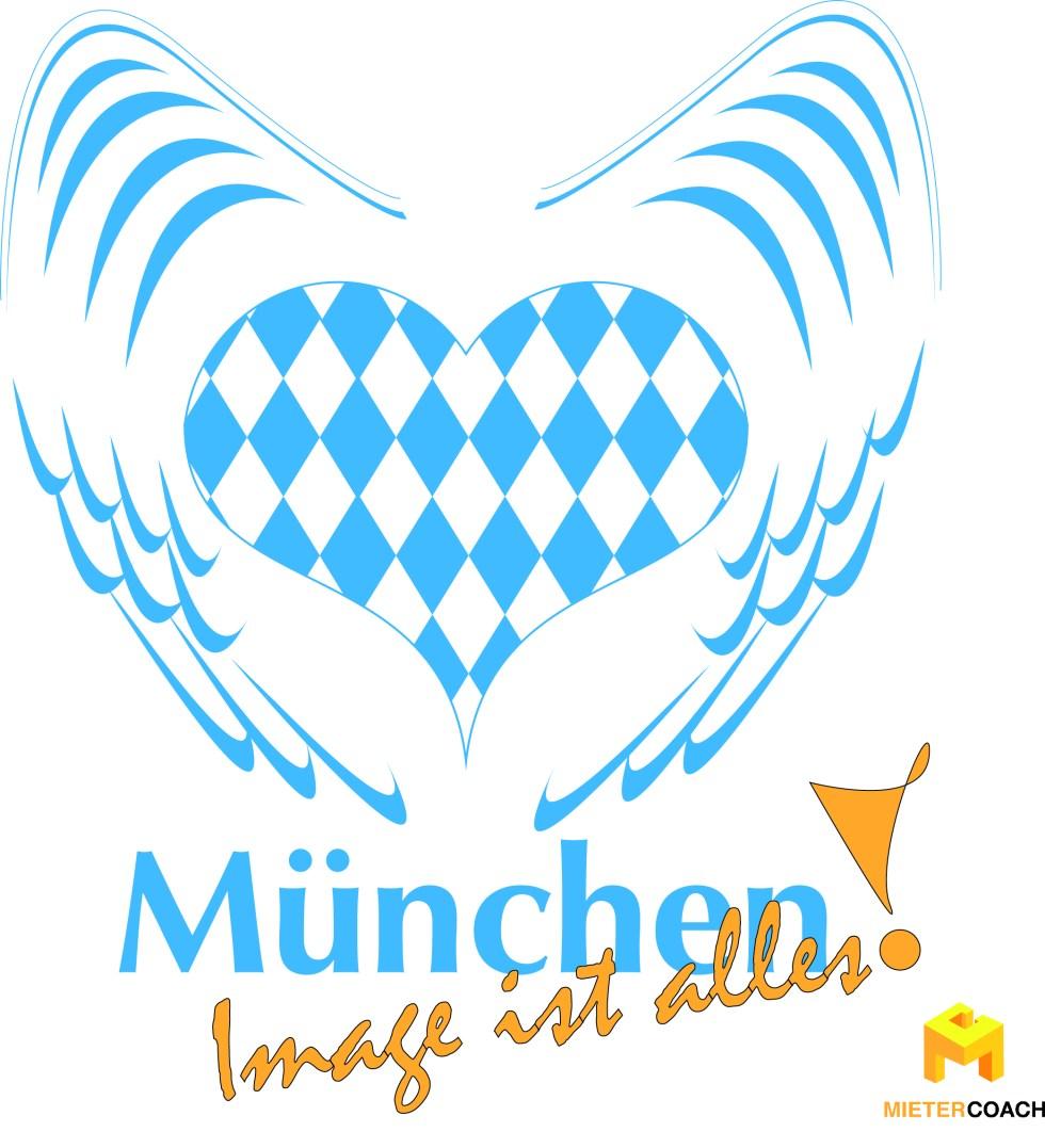 Großstadt München, Markenbildung, Herz mit bayrischen Landesfarben