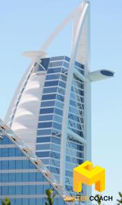 Burj Al Arab ist eine der Touristenattraktionen von Dubai. Das 7-Sterne-Luxushotel ist auf einer eigenen Insel errichtet.