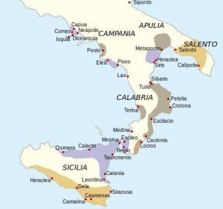 Territorios de la Magna Grecia en la Península Itálica