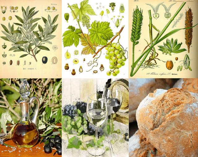 Elementos de la tríada mediterránea de la alimentación