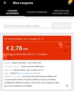 A quoi ressemble un coupon AliExpress Reduction